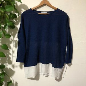 Zara Blue and White Colorblock 3/4 Sleeve Top S